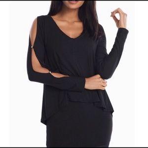 WHBM Slit Sleeve Double Layer Black Tunic Size XXS